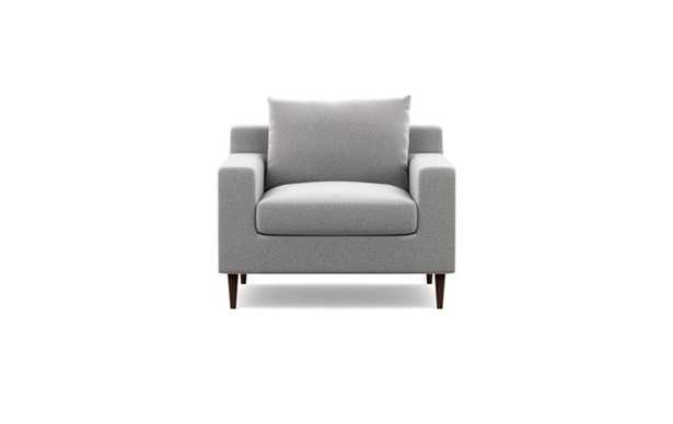 Sloan Accent Chair with Grey Ash Fabric and Oiled Walnut legs - Interior Define
