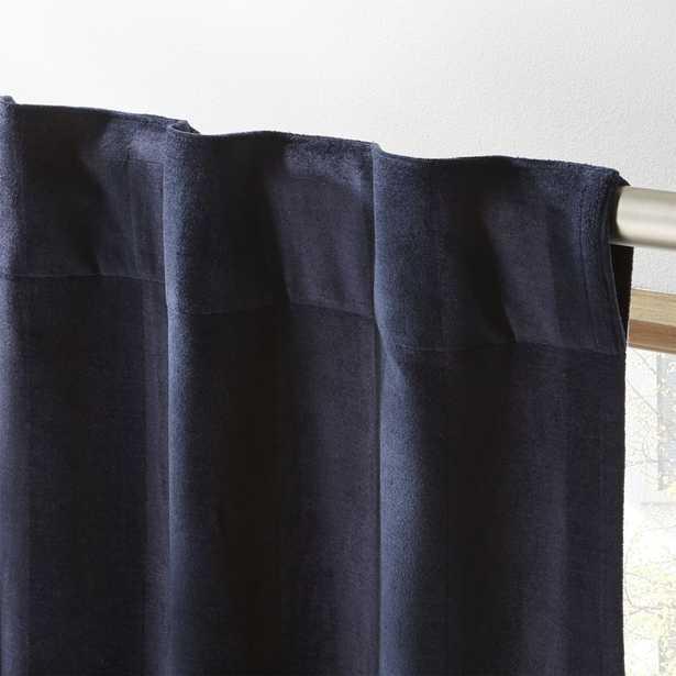 """""""Navy Stripe Velvet Curtain Panel 48""""""""x84"""""""""""" - CB2"""