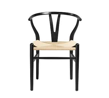 Faith Side Chair, Set of 2, Black/Natural - Pottery Barn