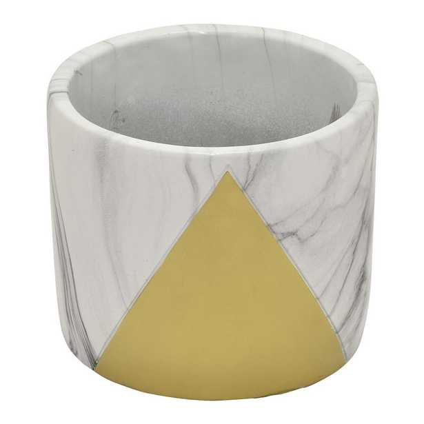 THREE HANDS 4.75 in. Marble Look Gold - Gold Flower Pot - Home Depot