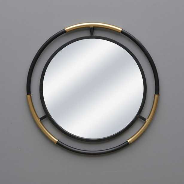 Black and Gold Round Bar Mirror - Home Depot