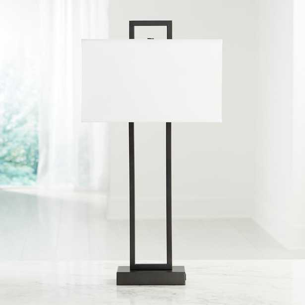 Adler Black Rectangle Table Lamp with USB - Crate and Barrel