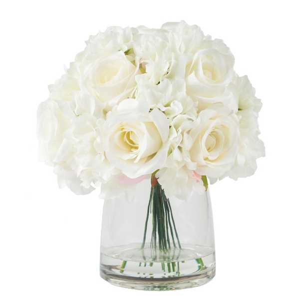 11.5 in. Hydrangea and Rose Floral Cream Arrangement - Home Depot