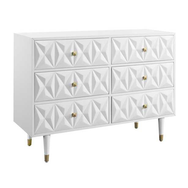 Linon Home Decor Dixon Six Drawer Geo Texture Dresser White - Home Depot