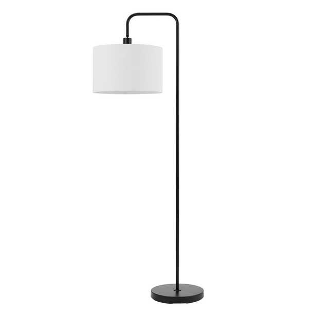 Globe Electric Barden 58 in. Matte Black Floor Lamp with White Linen Shade - Home Depot