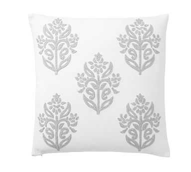 """Kyla Embroidered Pillow Cover, 18"""", Ivory/Gray - Pottery Barn"""