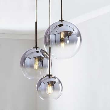 Sculptural Glass 3-Light Round Globe, Chandelier, S-M-L Globe, Silver Ombre Shade, Bronze Canopy - West Elm