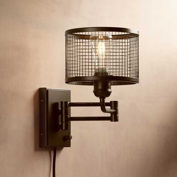 Chad Industrial Cage Plug-In Swing Arm LED Wall Lamp - Style # 32Y16 - Lamps Plus
