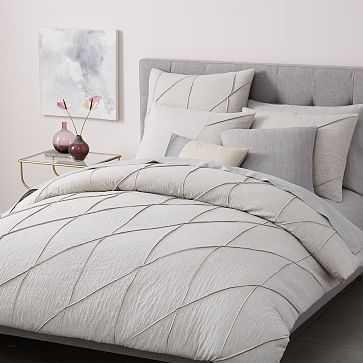 Organic Pleated Grid Duvet, Full/Queen, Light Gray - West Elm