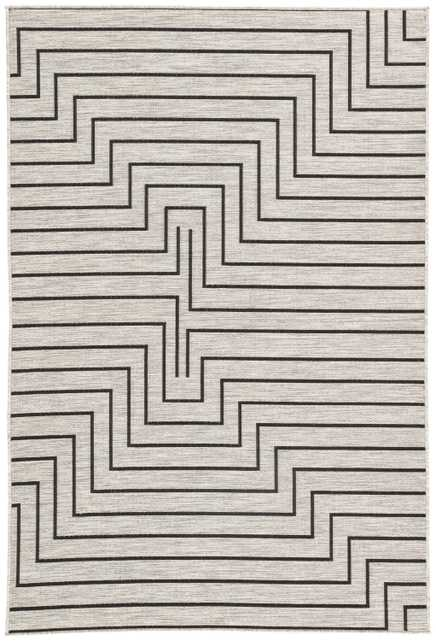 Nikki Chu by Xantho Indoor/ Outdoor Geometric Silver/ Black Area Rug (9'X12') - Collective Weavers