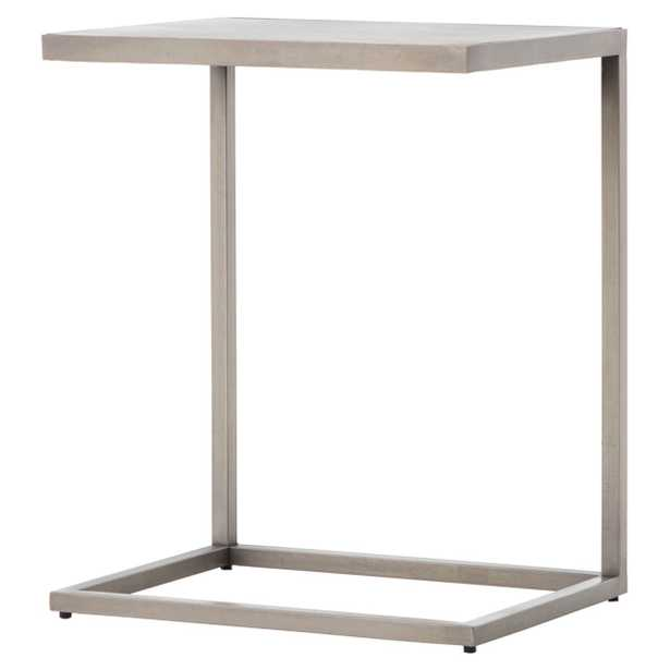 Kyline Modern Classic Etched Diamond Pattern Pewter Stainless Steel C Table - Kathy Kuo Home