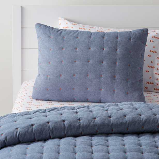 Chambray Blue Sham - Crate and Barrel
