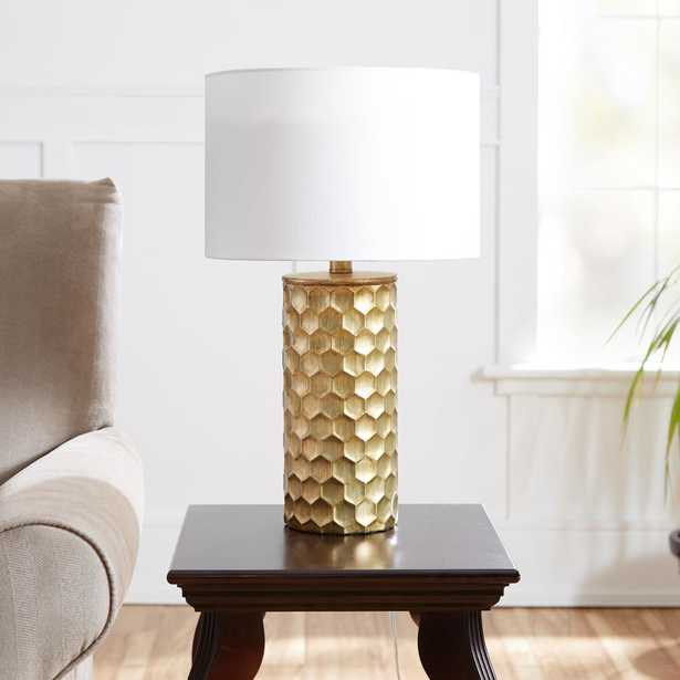 Silverwood Hive Gilded 21 in. Gold Table Lamp with Linen Shade - Home Depot