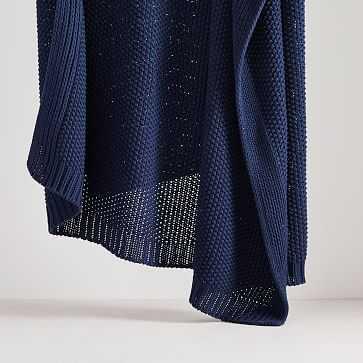 """Cotton Knit Throw, 50""""x60"""", Midnight - West Elm"""