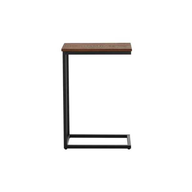 StyleWell Donnelly Rectangular Black Metal C Shape Accent Table with Haze Wood Finish Top (17 in. W x 25 in. H), Black Metal/Haze Top - Home Depot