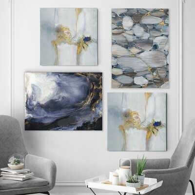 'Geometric Blues' 4 Piece Painting Print Set on Canvas - Birch Lane