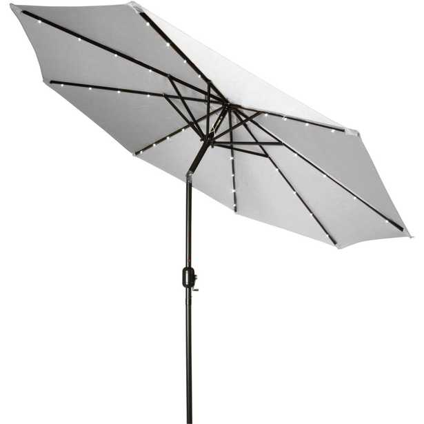 Trademark Innovations 9 ft. Deluxe Solar Powered Led Lighted Patio Umbrella in Gray - Home Depot