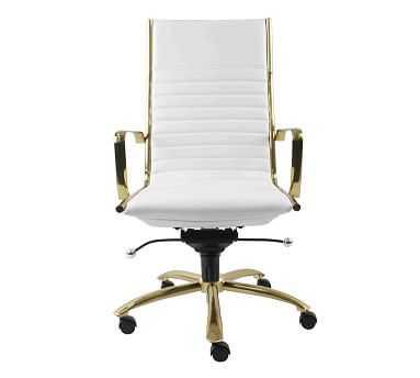 Fowler High Back Desk Chair, White/Gold - Pottery Barn