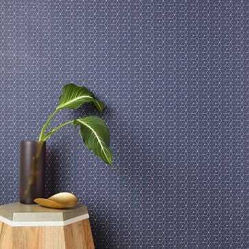 Chasing Paper Geo Diamond Print Wallpaper, Navy/Gold - West Elm