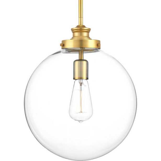 Progress Lighting Penn 1-Light Natural Brass Large Pendant with Clear Glass - Home Depot