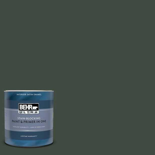 BEHR ULTRA 1 qt. Home Decorators Collection #HDC-CL-21 Sporting Green Satin Enamel Interior Paint & Primer - Home Depot