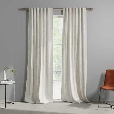 "Cotton Canvas Bomu Curtain, Set of 2, Stone Gray, 48""x96"" (Set of 2) - West Elm"