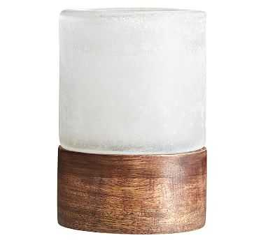 Wood and Frosted Glass Votive - Pottery Barn