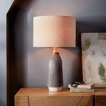 Roar + Rabbit Ceramic Table Lamp, Warm Gray, Tall + Narrow - West Elm