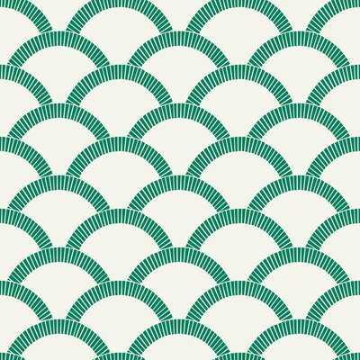 "Rockett Mosaic Scallop 33' L x 20.5"" W Smooth Peel and Stick Wallpaper Roll - AllModern"