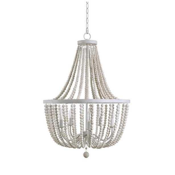 Kenroy Home Dumas 5-Light Weathered White Wood Bead Chandelier - Home Depot