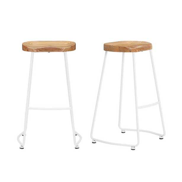 StyleWell White Metal Backless Bar Stool with Wood Seat (Set of 2) (18.5 in. W x 29.52 in. H), White/Natural - Home Depot
