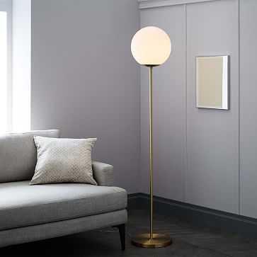 Globe Floor Lamp, Antique Brass/Milk - West Elm