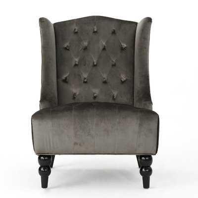 Potterslane High-Back New Velvet Wingback Chair - Wayfair