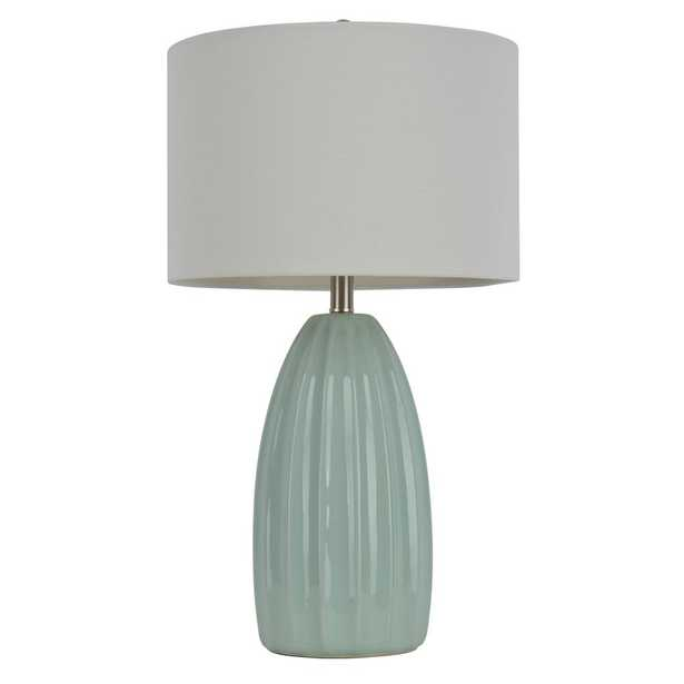 Decor Therapy Crackle 27 in. Blue Table Lamp with Linen Shade - Home Depot