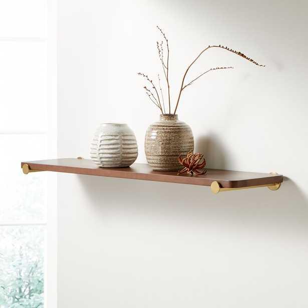 "Riggs 36"" Walnut Shelf with Brass Dot Brackets - Crate and Barrel"