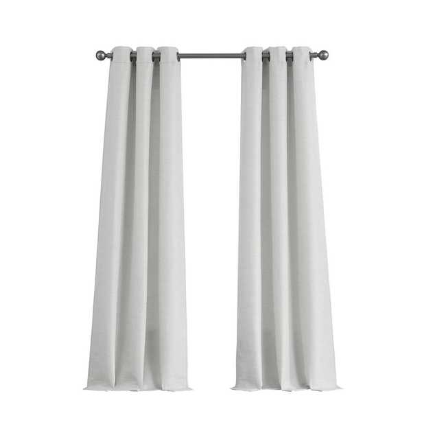 Tribeca Raw Faux Silk Grommet 76 in. x 96 in. Curtain Panel Pair in Pure White - Home Depot