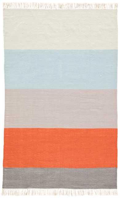 Swane Indoor/ Outdoor Stripe Orange/ Blue Area Rug (8' X 10') - Collective Weavers