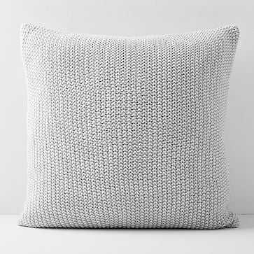 "Cotton Knit Pillow Cover, Frost Gray, 20""x20"" - West Elm"