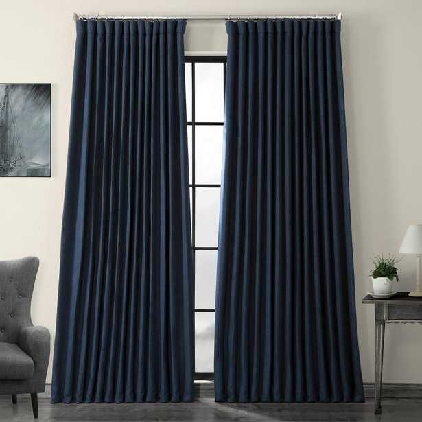 Exclusive Fabrics & Furnishings Indigo Blue Faux Linen Extra Wide Blackout Curtain - 100 in. W x 108 in. L - Home Depot