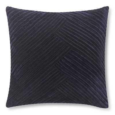 """Pleated Velvet Pillow Cover, 22"""" X 22"""", Peacoat - Williams Sonoma"""