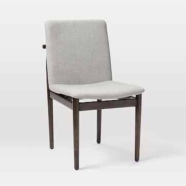 Framework Upholstered Dining Chair, Twill, Platinum, Dark Mineral - West Elm