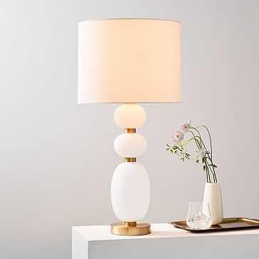 Lilah Table Lamp, Large, White Linen, Milk Glass - West Elm