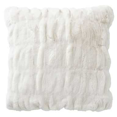 Faux-Fur Pillow Cover, 18x18, Ruched Ivory - Pottery Barn Teen