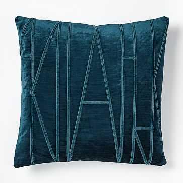 """Velvet Applique Pillow Cover, 20""""x20"""", Regal Blue - West Elm"""
