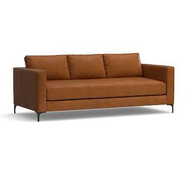 """Jake Leather Sofa 85"""", Down Blend Wrapped Cushions, Vintage Caramel - Pottery Barn"""