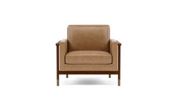 Jason Wu Leather Chair with Brown Palomino Leather and Oiled Walnut with Brass Cap legs - Interior Define
