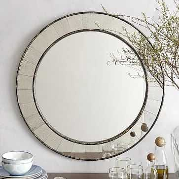 """Antique Tiled Wall Mirror, Round 30"""" - West Elm"""