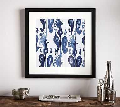 "Indigo Ikat Framed Print, Oasis, 22 x 22"" - Pottery Barn"