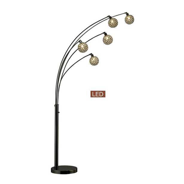 ARTIVA Manhattan Quan 84 in. Crystal LED Arch Floor lamp-Jet Black - Home Depot