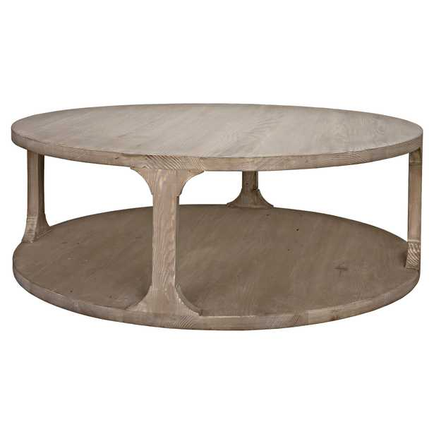 Andre Coastal Beach Grey Washed Reclaimed Wood Round Coffee Table - Large - Kathy Kuo Home